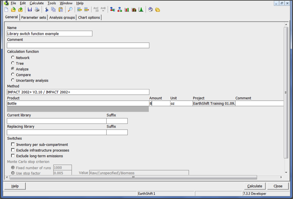 Library switch functionin SimaPro - calculation set-up window