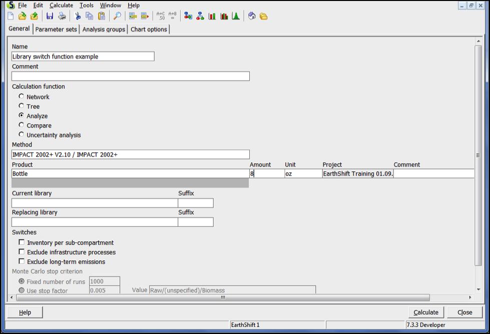 Library switch functionin SimaPro - calculation set-up window